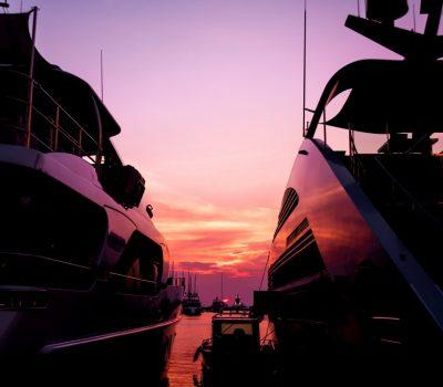 Power Yachts tied up - sunset